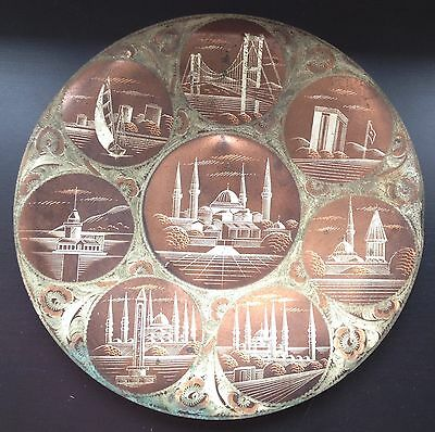 Decorative Copper Plate Bosphorous First Bridge Istanbul Turkey Hagia Sophia