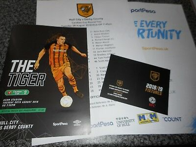 HULL CITY  v  DERBY COUNTY 2018/19 CARABAO CUP 2nd  AUG 28 + T/SHEET + FIX CARD