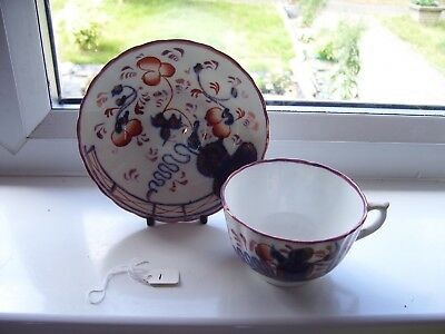 Gaudy Welsh Oyster Pattern Cup & Saucer
