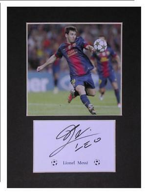 lionel Messi football gift idea signed photo print mounted display