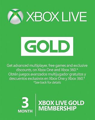 Microsoft Xbox Live Gold 3 Month Membership Card for Xbox One/360 region free