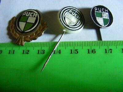 Lot of 3 different PUCH  motorcycle very old pin badges.