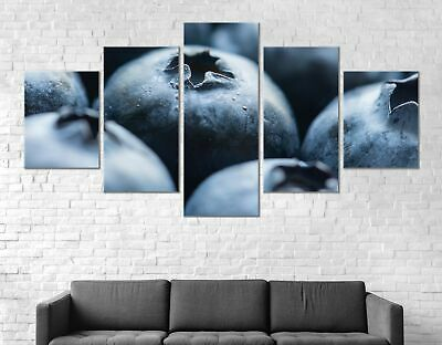 Blueberries Fruits Canvas Print Painting Framed Home Decor Wall Art Poster 5Pcs