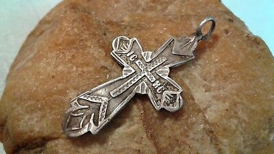 """ANTIQUE SOLID SILVER 84 EASTERN ORTHODOX or CATHOLIC """"SUN"""" CROSS 18th CENTURY"""