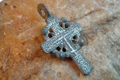 "ANTIQUE SILVER ORTHODOX ""OLD BELIEVERS"" SMALL ORNATE ""SUN"" CROSS 15-17th CENTURY"