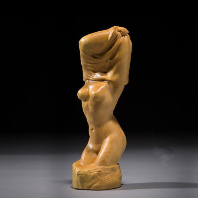 Chinese Boxwood Hand Carved Sexy beautiful girl Figure undress belle Statue