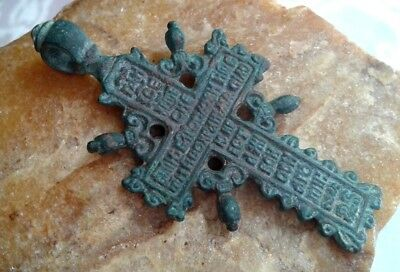 "ANTIQUE 18-19th CENTURY RUSSIAN ORTHODOX ""OLD BELIEVERS"" CROSS ""JESUS  PRAYER"""