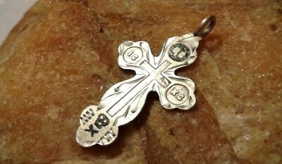 "ANTIQUE 19th CENT. SOLID RUSSIAN SILVER ""84"" ORTHODOX ""SKULL & CROSSBONES"" CROSS"