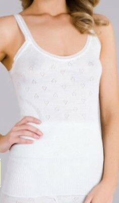 New Ladies Ivory Cotton French Neck Spencer Vest Lace Edge Camisole *Snowdrop*