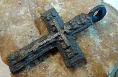 """Antique 18-19 Century Russian Orthodox """"old Believers"""" Larger Cross Pendant"""