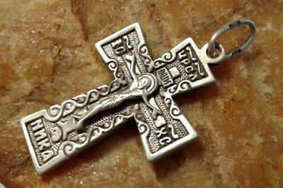 "Vintage Sterling Silver ""925"" Orthodox Ornate ""skull"" Crucifix ""save & Protect"""