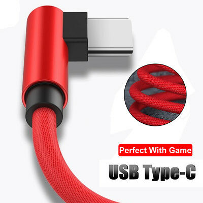 90 Degree USB Type-C Fast Charging Cable Data Charger For Samsung Note 9 S9 S8+