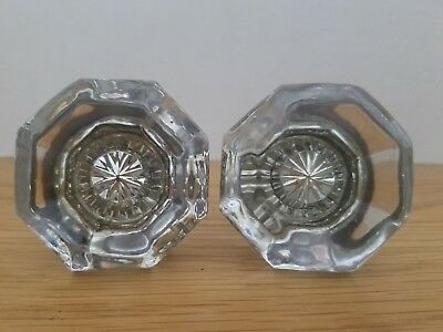 Antique Vintage Glass Door Knobs - Lot of 2 - Matching Pair - Octagon