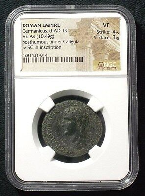 AE As of Roman General Germanicus , Large SC reverse 19 AD  NGC VF  1014