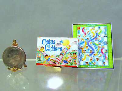 Dollhouse Miniature CHUTES & LADDERS Game Box  & Board in 1:12 Scale