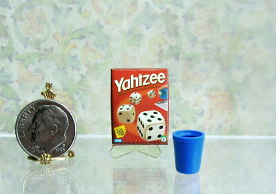 Dollhouse Miniature YAHTZEE Game Box with Cup in 1:12 Scale