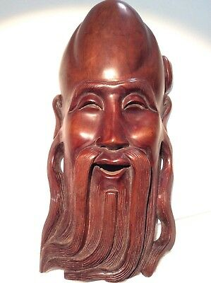 ANTIQUE CHINESE ROSEWOOD HAND CARVED MASK  great detail. Very heavy.