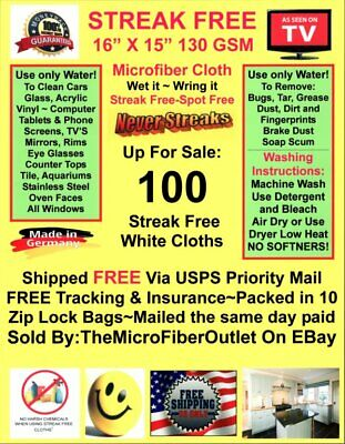 Streak Free MicroFiber Cleaning Cloths 100 Pack FREE Shipping! Dealer Special!