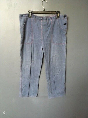 40's work wear vintage french work pants blue red stich   france vintage