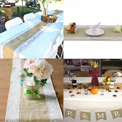 Hessian Lace Table Runner Rustic Burlap Wedding Decor Table Vintage