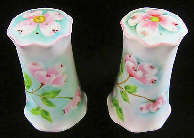 Salt and Pepper Shakers Shabby Chic Style Hand Painted Porcelain Unique 4.5""