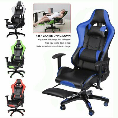 Reclining Leather Office Desk Chair Gaming Computer With Footrest Sports Racing