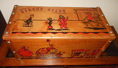 Antique Circus Stars Wooden Toy Box Wood Chest 50's