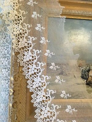 """Antique Tulle Lace Trim Edging Border Flounce Old Stock 48"""" X 4""""3/4"""