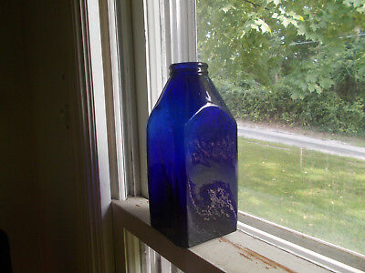 1870s RARE COBALT BLUE BIG SQUARE SNUFF OR FOOD BOTTLE DRIPPY APPLIED LIP