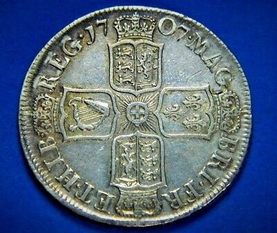 Queen Anne 1707 Plain Reverse Septimo Silver  Halfcrown, High Grade