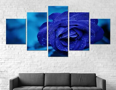 Blue Rose Flower Canvas Print Painting Framed Home Decor Wall Art Poster 5Pcs