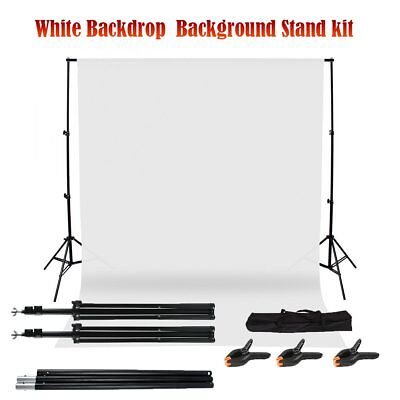 Photo Studio Support Stand Kit Set White Background Screen + 3 Backdrop Clamps A