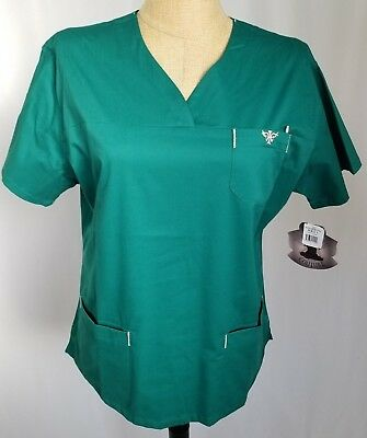 Med Couture Women's 8401 Sport Neck Scrub Top Shirt Hunter Green Tan Large New