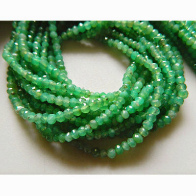 Chrysoprase Faceted Rondelles Beads 3.5mm Beads 13 Inch Strand