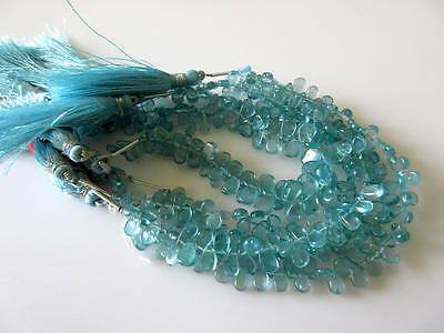 Natural Blue Apatite Smooth Pear Briolette Beads 7 Inches Of 5x8mm Beads GDS747