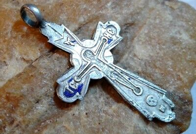 "ANTIQUE SOLID SILVER ""84"" EASTERN ORTHODOX or CATHOLIC ""SKULL"" CRUCIFIX PENDANT"