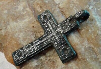 "RARE 16-18th CENTURY RUSSIAN NORTH ORTHODOX CROSS with ""SUN WHEEL"" SYMBOLS"