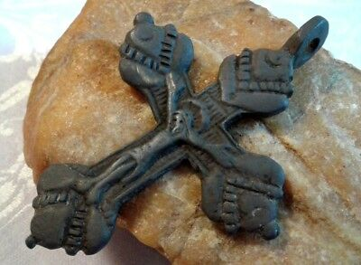 RARE 17-19th CENTURY EASTERN CATHOLIC or ORTHODOX LARGE BRONZE CRUCIFIX PENDANT