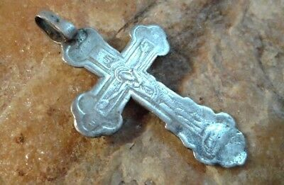 "Rare Antique Solid Silver ""84"" Russian Orthodox Crucifix Saint Barbara Varvara"
