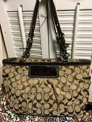 02027a88a28 COACH Signature Pleated East West Gallery Tote Shoulder Bag F14281 Khaki  Brown