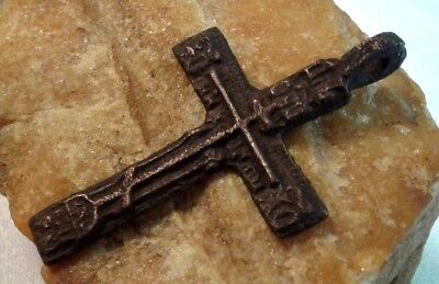 "RARE LARGE RED BRONZE 18-19th CENTURY ORTHODOX ""OLD BELIEVERS"" CROSS PSALM 68"