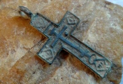 "ANTIQUE 17th CENTURY RUSSIAN ORTHODOX ""OLD BELIEVERS"" CROSS ""JESUS PRAYER"""