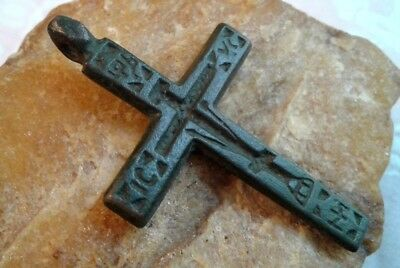 """RARE 17-18th CENTURY RUSSIAN NORTH HAND-CARVED ORTHODOX """"OLD BELIEVERS"""" CROSS"""