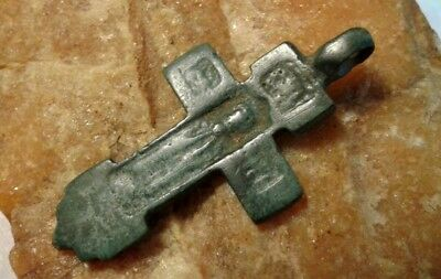 RARE 15-16th CENTURY RUSSIAN ORTHODOX ICONIC CROSS SAINT SERGIUS of RADONEZH