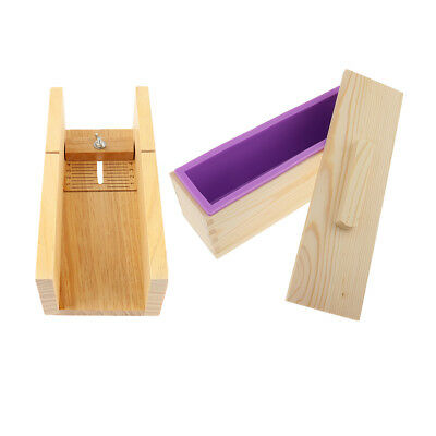 DIY Loaf Soap Mould Set Wooden Cutter Box Silicone Mold with Wooden Lid Box