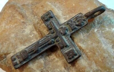 "ANTIQUE 18-19th CENTURY RUSSIAN ORTHODOX ""OLD BELIEVERS"" CROSS with PSALM 68"