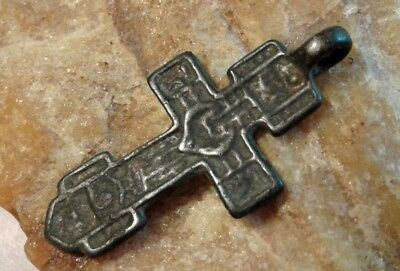 "ANTIQUE ORTHODOX ""OLD BELIEVERS"" SWORD-SHAPED ""SKULL"" CROSS with CRESCENT -TSATA"