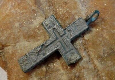 "Antique Orthodox ""Old Believers"" Small Cross Pendant Prayer Before The Cross"