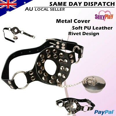 BDSM Bondage Mouth Gag PU Leather Metal Mouth Opener Cover Fetish Adult Sex Toy
