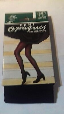 Pretty Polly Vine Leaf Pattern Black semi-opaques nylon tights. Size Medium